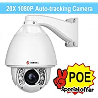 IMPORX CCTV 20X Auto Tracking PTZ IP Camera, POE+, 20X Optical Zoom, 1080P Full HD Camera - ONVIF High Speed Outdoor Camera, Support SD Card and P2P, 400ft IR Distance, with Fan Heater and Wiper