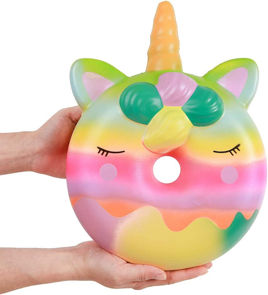Anboor 13 Inches Squishies Jumbo Unicorn Donut Kawaii Soft Slow Rising Scented Giant Doughnut Squishies Stress Relief Kid Toys Colorful