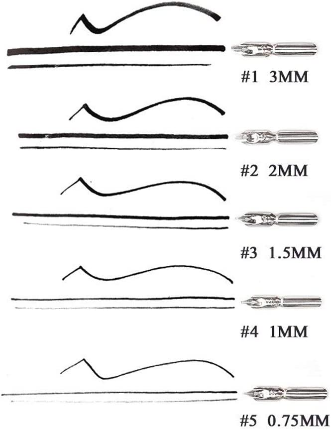 LLLNHQ Fountain Writing Pen 5 Nibs Dip Pen Set Calligraphy Pen Set for Cartoon Animation Lettering Sketching Art Drawing Mapping Decorative Designs