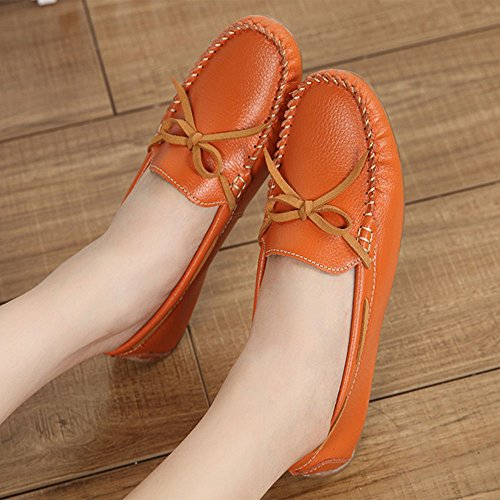 Yangjiaxuan Women's Bean Comfortable Orange Casual Activities Indoor Shoes Wear Soft Shoes Flat Surface drrq1pwI