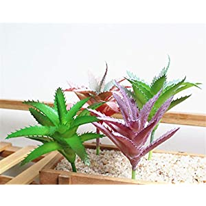 Skyseen 4Pcs Artificial Succulent Plants Aloe Lotus Agave for Home Garden Decor 6