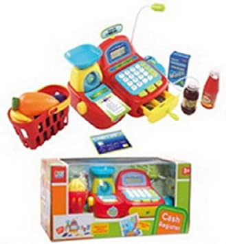 SUPER JUGUETE Caja REGISTRADORA ROJA con Micro Y Accesorios: Amazon.es: Juguetes y juegos