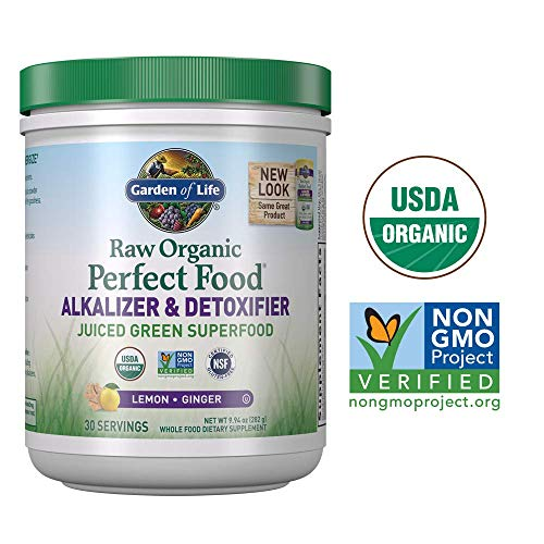 (Garden of Life Raw Organic Perfect Food Alkalizer & Detoxifier Juiced Greens Superfood Powder - Lemon Ginger, 30 Servings (Packaging May Vary) - Non-GMO, Gluten Free Whole Food Dietary Supplement)