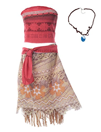 MUABABY Moana Girls Adventure Outfit Costume Skirt Set with Necklace with Headband