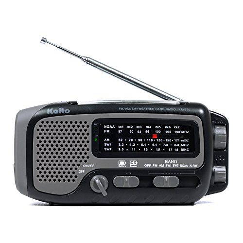 Kaito KA350GY Voyager Trek Solar/Crank AM/FM/SW NOAA Weather Radio with 5-LED Flashlight
