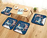 UHOO2018 Comfortable Chair Cushions New Year Vector Card with The Rooster The Decorations Reuse can be Cleaned W17.5 x L17.5/4PCS Set