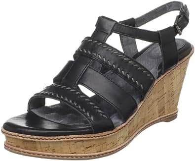 Softwalk Women's San Pedro Wedge Sandal,Black,8 W US