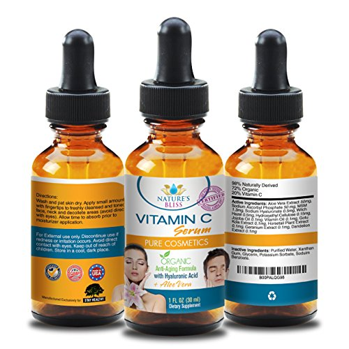 Organic Vitamin C Serum for Face - 100% Pure Hyaluronic Acid Serum Liquid Supplements Anti Aging Formula to Hydrate Skin and Clear Wrinkles Fine Lines to Make You Look Young Again Best Anti Wrinkle Serum To Rejuvenate and Moisturize Your Skin 100% SA...