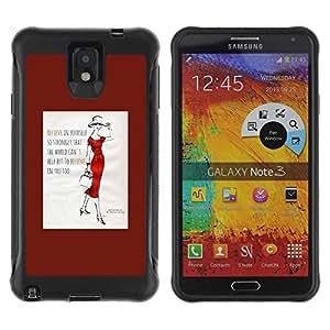 Fuerte Suave TPU GEL Caso Carcasa de Protección Funda para Samsung Note 3 / Business Style Fashion Quote Minimalist Lady Trend Poster