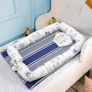 Abreeze Baby Bassinet for Bed – Navigator Baby Lounger – Breathable & Hypoallergenic Co-Sleeping Baby Bed – 100% Cotton Portable Crib for Bedroom/Travel 0-24 Months