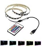 40 inch USB 5v 5050 60SMD/M RGB TV Bias Background Lights 1m Led Strip Lighting with 24 keys IR Remote Controller