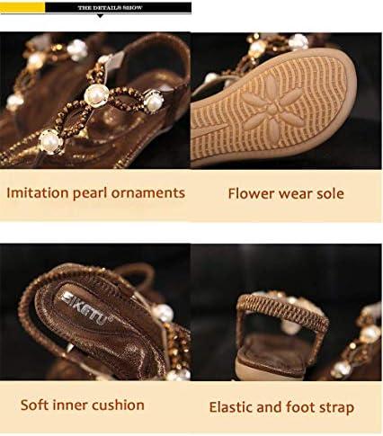 ZFFSC Tongs Sandales Perles Strass Clip Toe Chaussures Été Plage Élastique T-Strap Plat Ms Sandal-brun-7.5MUS pantoufles