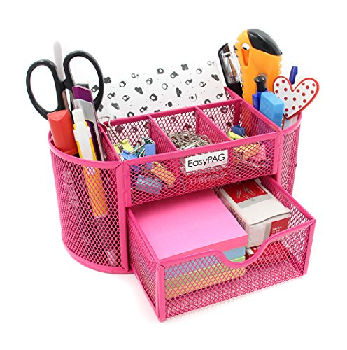 EasyPAG Mesh Desk Organizer Pencil Holder 9 Compartments with Drawer,Pink ()