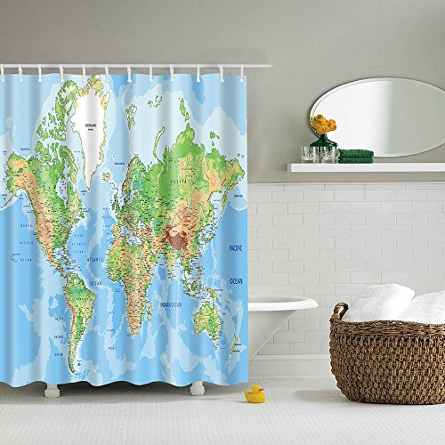 HOMEE Shower Curtain Topographic Map Fabric Stall Shower Curtain Water Repellent PEVA Polyester Educational Geographical Mildew Resitant - 70 x 70 -inch (180 x 180 cm)