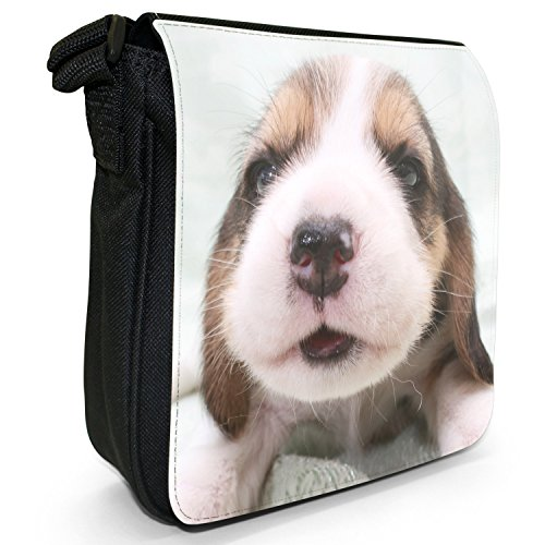 Puppy Black Canvas Dog Beagle Bag Shoulder Size Small 10Zfp