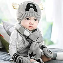 3pcs/Set Casual Hedging Crochet Child Hat Warm Letter Knitted Kids caps for Solid Wool Baby Winter Caps+Scarf+Gloves Suits