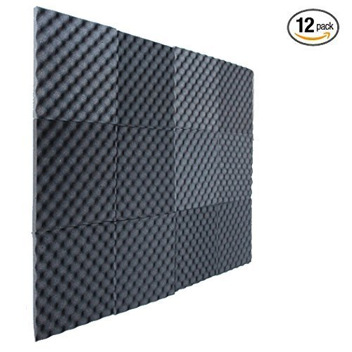 12 Pack Charcoal Slim Convoluted Egg crate Acoustic Foam Padding - Enhance Sound Quality by Absorbing Noise and Echoes by IZO All Supply