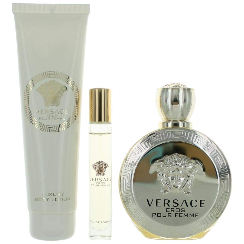 Eros Pour Femme by Vérsácé, 3 Piece Gift Set for Women with Rollerball