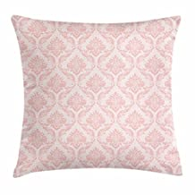 Blush Throw Pillow Cushion Cover, Damask Motif Retro Design of Floral Pattern with Swirling Petals and Branches, Decorative Square Accent Pillow Case, 18 X 18 Inches, White Pale Pink