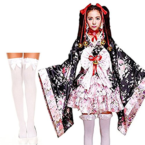 BTW.JP Anime Cosplay Lolita Halloween Ribbon Japanese Kimono Dress Costume With Socks Set (XL, Pink) -