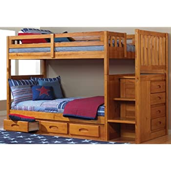Mission Twin Over Twin Staircase Bunk Bed with 3 Drawers in Honey Finish
