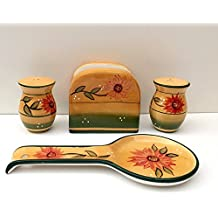 Tuscany Country Sunflower Hand Painted Ceramic Table Top Set, 82925/28 by ACK