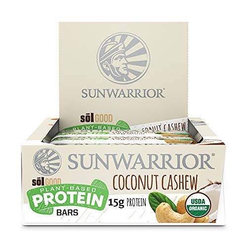 Sunwarrior – Sol Good Protein Bar, Organic, Vegan, Brown Rice, Pea & Quinoa Protein (Coconut Cashew)