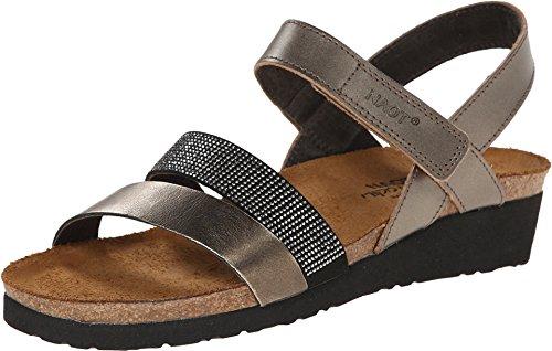 NAOT Footwear's Women Krista Backstrap Sandal Pewter/Metal Lthr Combo 11 M US