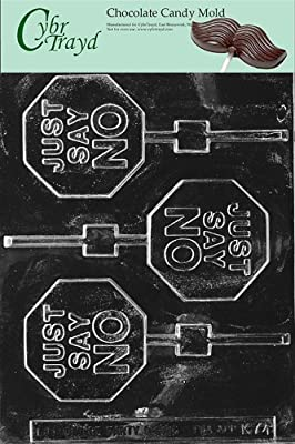 Cybrtrayd Life of the Party K074 Just Say No Drugs Opioid Addiction Lolly Chocolate Candy Mold in Sealed Protective Poly Bag Imprinted with Copyrighted Cybrtrayd Molding Instructions