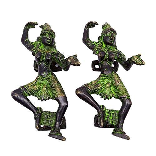(Decorative Indian Antique Door Handle Brass Figurine Dancing Women Metal Art)