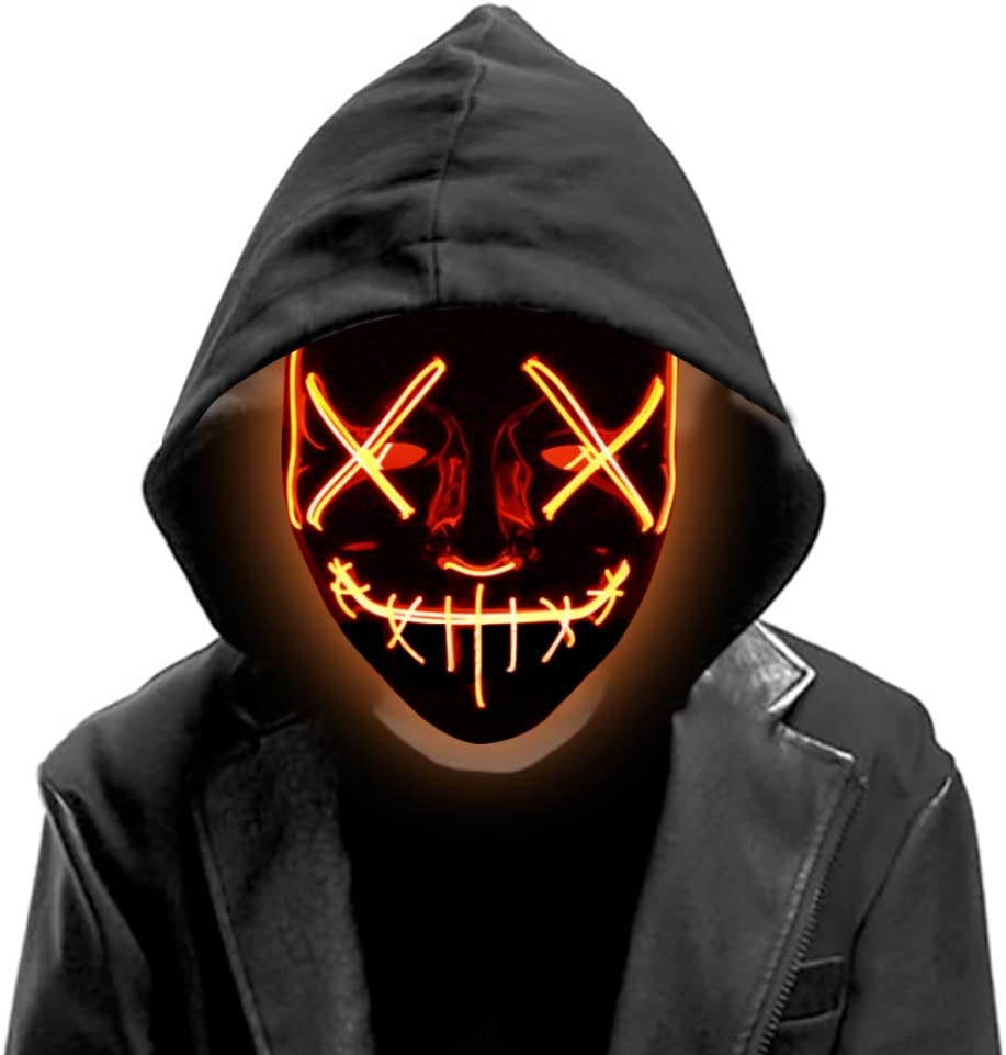 DomeStar Led Mask, Purge Mask Light Up Mask Glow Mask Halloween Mask Masquerade DJ Show