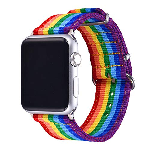 (Bandmax Rainbow Wristband Compatible Apple Watch 42MM/44MM, iwatch Strap Comfortable Denim Fabric Replacement Band Accessories Mix Update apapter Clasp Compatible Apple Watch Series4/3/2/1)
