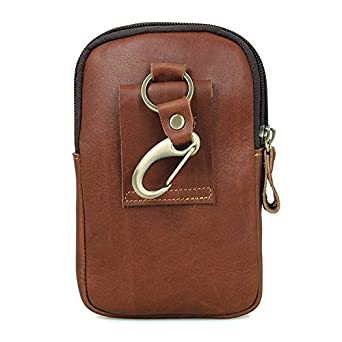 Mayshe Mens Genuine Leather Small Hook Fanny Waist Bag Hip Bum Belt Pouch Pack