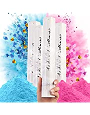 Premium Gender Reveal Confetti Cannon - Set of 4 - Biodegradable Powder x2 and Heart Shaped Confetti x2 in Pink or Blue, For Gender Reveal Decorations and Baby Gender Reveal Party Supplies