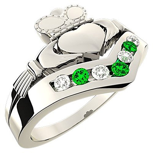 Sterling Silver Wishbone Claddagh Ring, Cubic Zirconia, Green Stones - 6