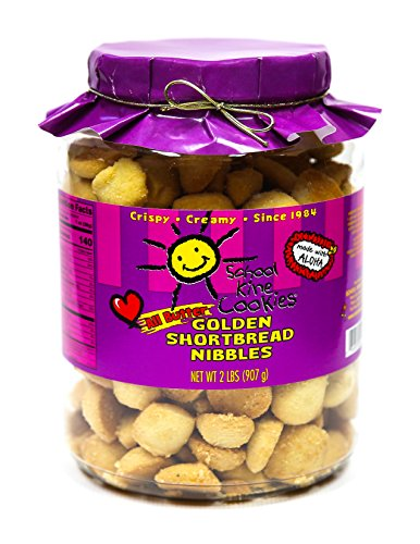 School Kine Cookies Golden Shortbread Nibbles (32 oz.) Pure, Hawaiian Butter Cookies | Bite-Sized, Individual Snacks with Homemade Taste | Kid and Adult