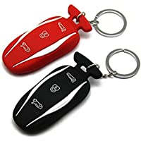Silicone Car Remote Key Fob Case Holder Keychain for Tesla Model S P85D(Black and Red,2 Packed)