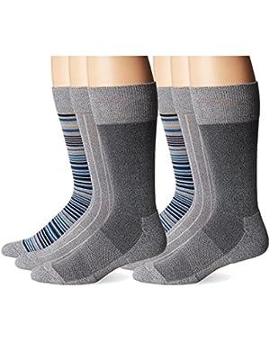 Men's Ultimate Fit - Elevated Dress Allover Stripe Crew Socks, 6 Pair