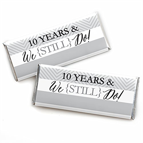 Anniversary Candy Wrapper - We Still Do - 10th Wedding Anniversary Party - Candy Bar Wrappers Party Favors - Set of 24