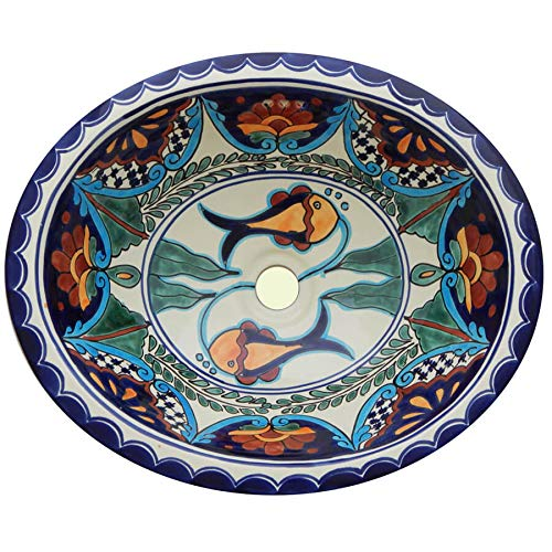 - Talavera Mexican Handmade Hand Painted Bathroom Sink MEDIUM # 12