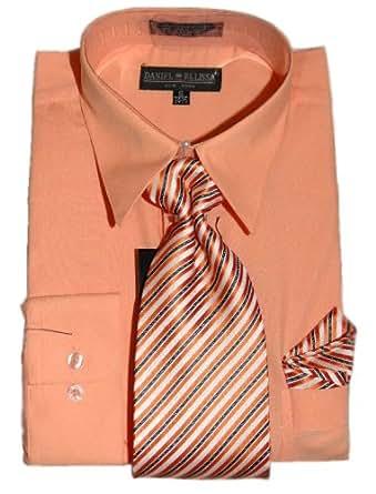 peach dress shirt tie and hanky set 20 5 35