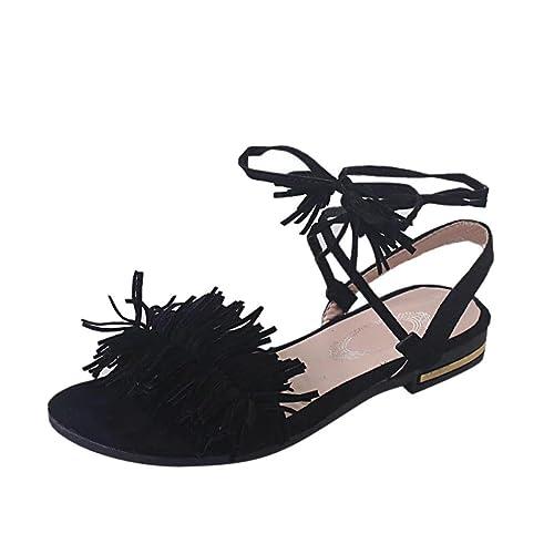 37e548fe8b9 Sandalias Mujer Verano K-Youth Moda Borla Sandalias para Mujer con Cordones Chanclas  Mujer Zapatos De Cuña De Verano Zapatilla con Punta Abierta Correa De ...