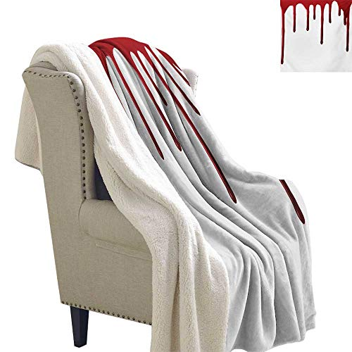Horror Lightweight Fluffy Flannel and Sherpa Blanket 60x78 Inch Flowing Blood Horror Spooky Halloween Zombie Crime Scary Help me Themed Illustration Warm Blanket Red -