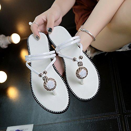Sandals Leisure Beach Herringbone Female Wearing Sandals Comfortable Fashion Students Wild Flowers Summer Flat The Women'S White WHLShoes wqIFOO
