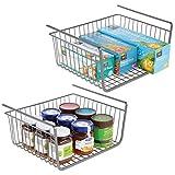 mDesign Set of 2 Under Shelf Basket – Large Wire Basket Shelves for Kitchen Storage – Hanging Storage Basket Ideal for Pantries and Cupboards – Graphite
