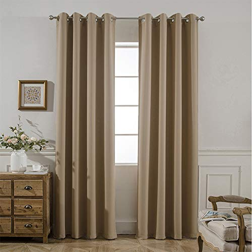 Yakamok Blackout Thermal Insulated Grommet Room Darkening Panels with 2 Tie Backs,W52 x L84, Set of ()