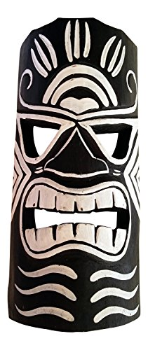 Wooden Tiki Mask, Black and White, 12'' by Seaside Accents