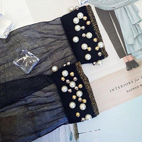 Chaussettes De Femmes Net, Inkach Filles À La Mode Respirant Perle Bas Section Mince Chaussettes En Soie Brillante B