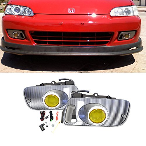 92 93 94 95 Coupe (VioGi Fit 92-95 Honda Civic 2-Door Coupe/3-Door Hatchback Yellow Lens Fog Lights Kit w/ Bulbs+Cover+Switch+Wiring Harness+Relay+Bracket+Necessary Mounting Hardware)
