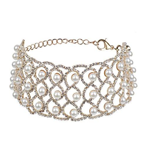 Croozy Womens 3 Row Pearl Rhinestone Choker Girls Crystal Choker Necklace Bride Collar Party Jewelry (Gold) -